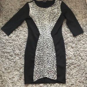 Black and grey leopard bodycon dress